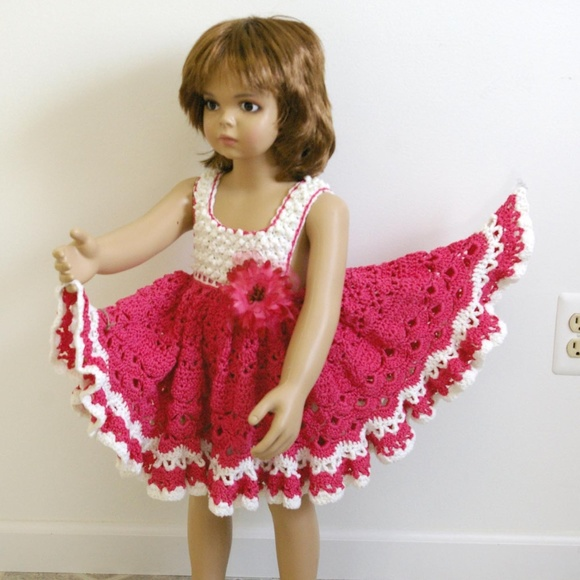 Sandras Specialty Shop Dresses Pretty Pink Full Frilly Crocheted